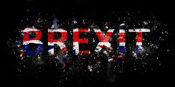 Exploding Brexit Text in Union Jack colours